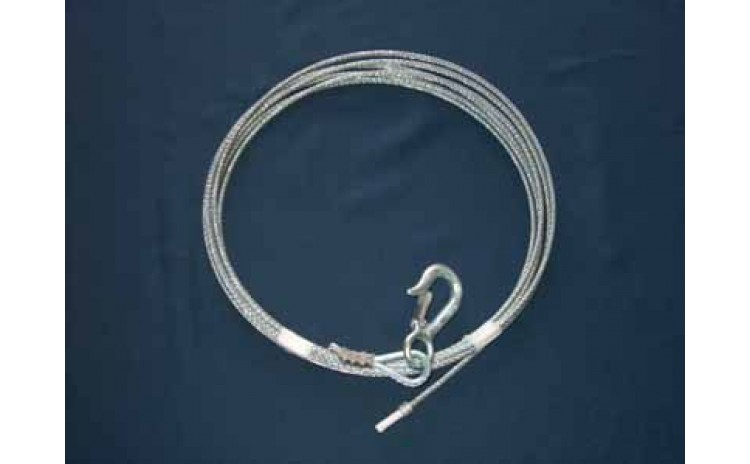 3/16 Cable Kit. Stainless Steel. 20 feet. with Hook.
