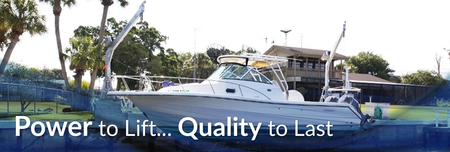 Boat lifted with Davit Master Boat Davit